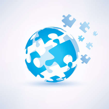 puzzle globe: globe made of puzzle piecies, business and technology concept