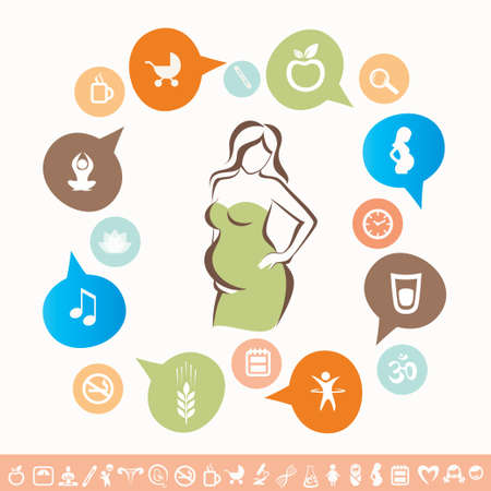 health information: pregnant woman infographics and icons set, healthy lyfestyle