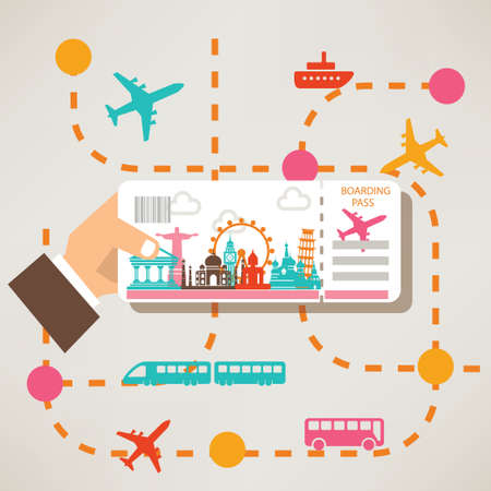 hand holding travel ticket, travel around the world concept, landmarks silhouettes and transportation