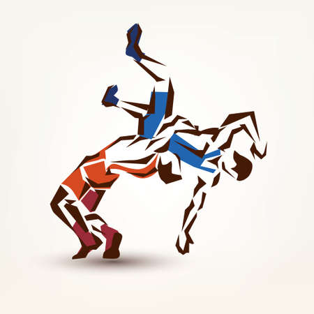 wrestling symbol, vector silhouette of two athletes Çizim
