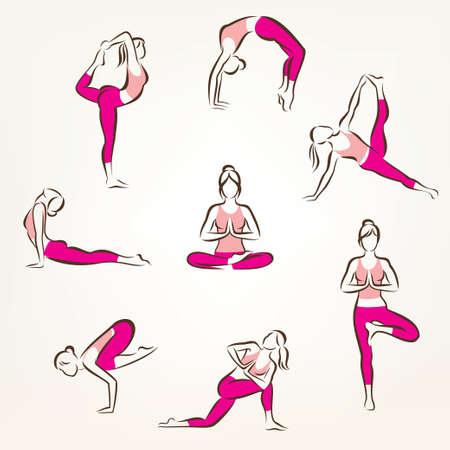 Große Reihe von Yoga und Pilates wirft Symbole, stilisierte Vektor-Symbole, Gesundheits- und Fitness-Konzept