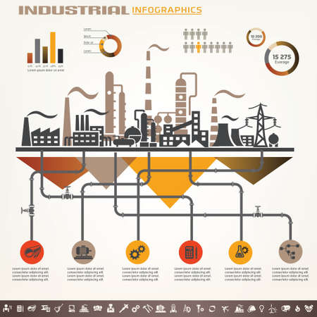 manufacturing: industry infographics template, set of industrial icons