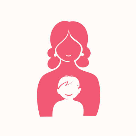 mother and son stylized vector silhouette