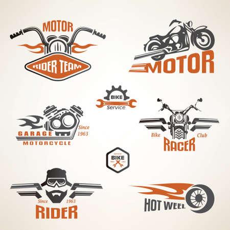 casco de moto: Conjunto de etiquetas de motocicletas de época, escudos y elementos de diseño