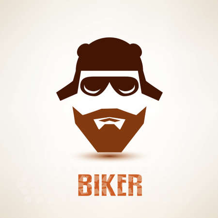 rocker: biker or rocker vector symbol, stylized icon Illustration