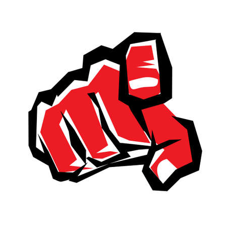 need direction: pointing finger or hand pointing symbol, stylized vector icon