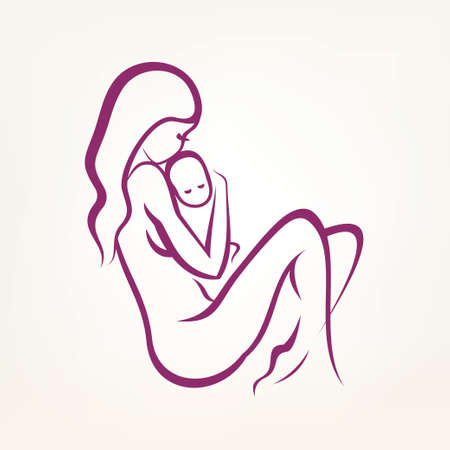 mom and baby stylized vector symbol, outlined sketch Ilustrace