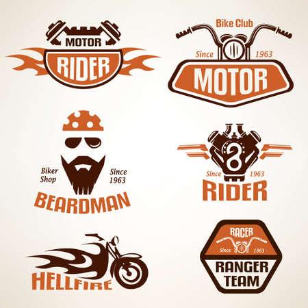 jinete: Conjunto de etiquetas de motocicletas de época, escudos y elementos de diseño