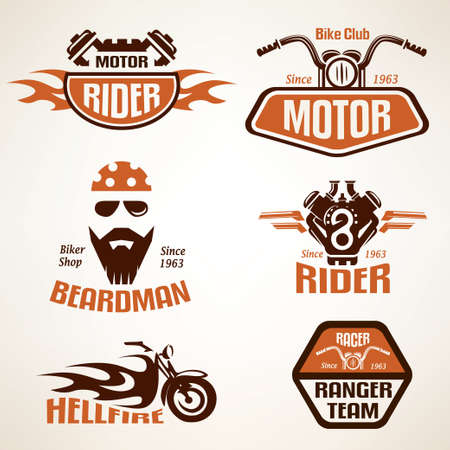 motor: Set of vintage motorcycle labels, badges and design elements