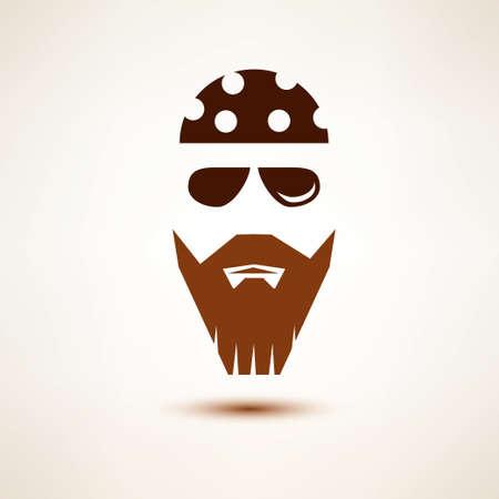 man long hair: biker or rocker vector symbol, stylized icon Illustration
