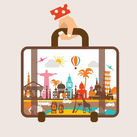 Bagages main tenant, voyager autour du concept de monde Banque d'images - 39510248