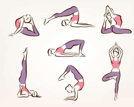 Ensemble de yoga et de pilates poses, symboles de vecteur stylisé, soins de santé et le concept de remise en forme Banque d'images - 39510249