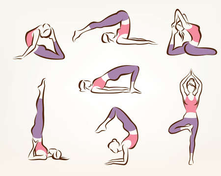 flexible woman: set of yoga and pilates poses , stylized vector symbols, health care and fitness concept