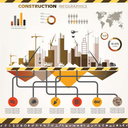 building construction site: building and construction infographics, vector icons set, design elements Illustration