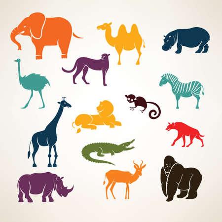 origen animal: animales africanos estilizadas siluetas vector