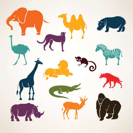 zoo animals: animaux africains stylis�s silhouettes vectorielles Illustration