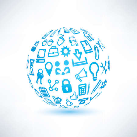 communication icons: abstract globe symbol, business and communication icons