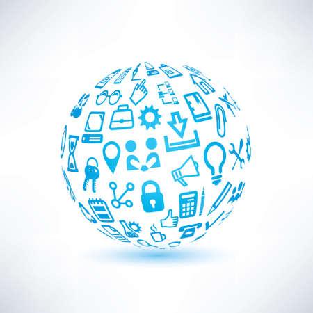 business communication: abstract globe symbol, business and communication icons