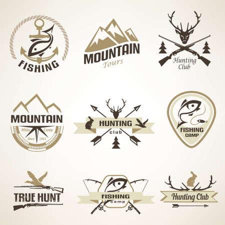 pescando: Conjunto de caza y pesca emblemas y etiquetas de la vendimia Vectores