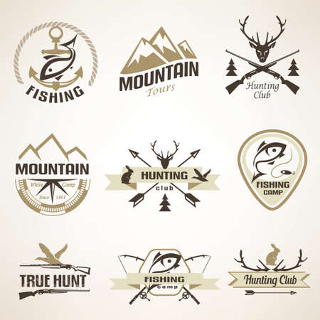 Set of vintage hunting and fishing emblems and labels Çizim