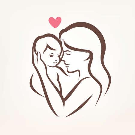 엄마와 아이의 어머니와 아들 양식에 일치시키는 벡터 실루엣, 설명 스케치 일러스트