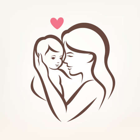 babies hands: mother and son stylized vector silhouette, outlined sketch of mom and child