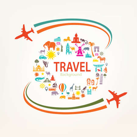 world travel, landmarks silhouettes icons set Иллюстрация