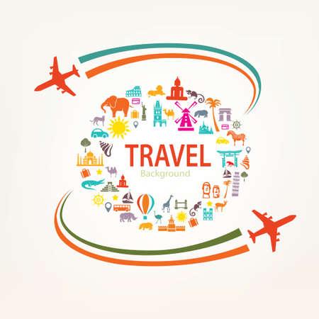 travel destinations: world travel, landmarks silhouettes icons set Illustration