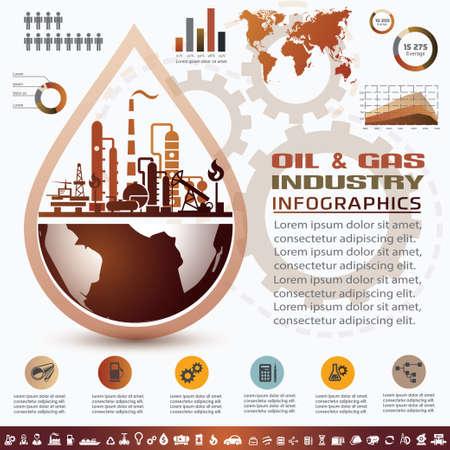 석유 및 가스 산업 인포 그래픽, 추출, 처리 및 trasportation