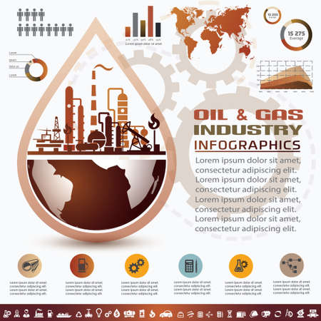 oil and gas industry infographics, extraction, processing and trasportation Çizim