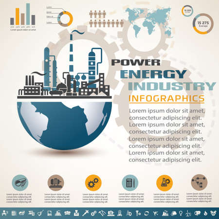 oil refinery: industry infographics template, set of industrial icons
