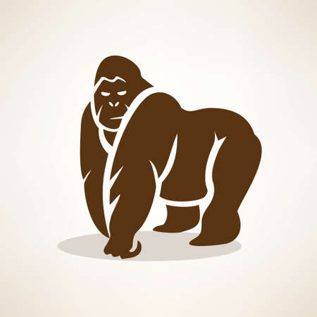 monkeys: gorilla stylized vector symbol, isolated silhouette
