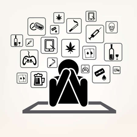addict: addict man and set of addiction symbols, outlined vector sketch