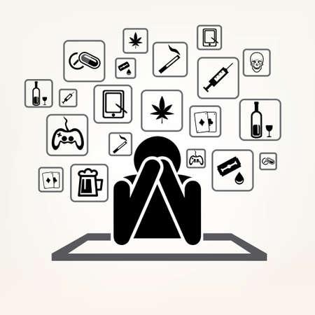 drug addict: addict man and set of addiction symbols, outlined vector sketch