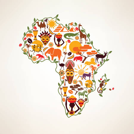 and south: Africa travel map, decrative symbol of Africa continent with ethnic vector icons