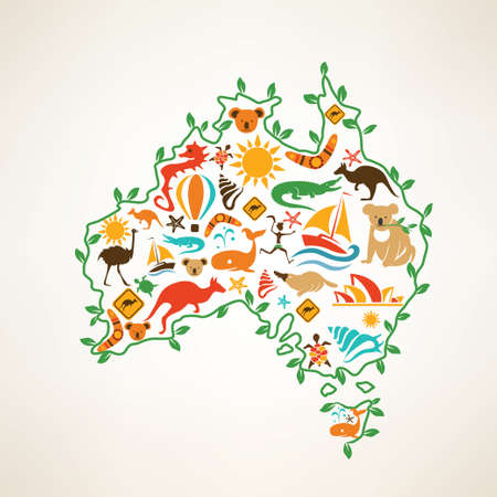 australia: Australia travel map, decrative symbol of Australia continent with ethnic vector icons