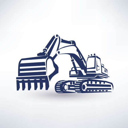 excavator symbol, stylized vector silhouette