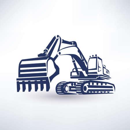maquinaria pesada: símbolo excavadora, silueta vector estilizada
