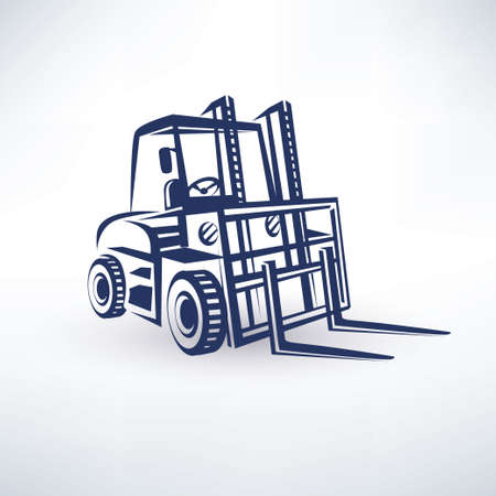 lift truck: forklift isolated vector symbol Illustration