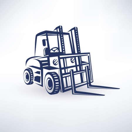 fork lifts trucks: forklift isolated vector symbol Illustration