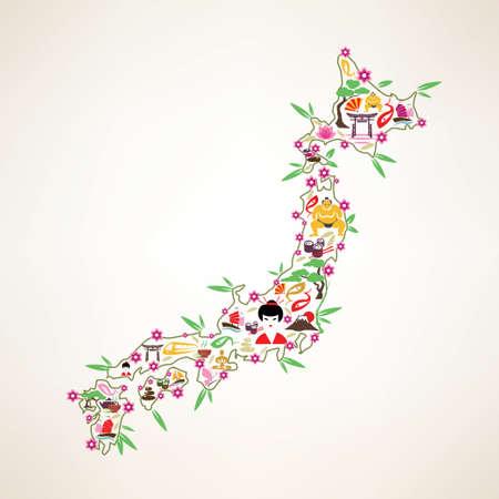 Japon carte du Voyage, symbole decrative des îles Japon avec des icônes vectorielles japonais Banque d'images - 45349647