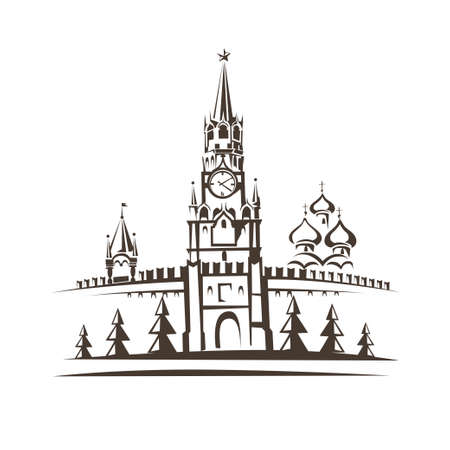 red square moscow: Red square and Moscow Kremlin stylized vector sketch Illustration