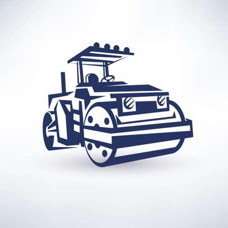 road roller, stylized vector symbol Illustration