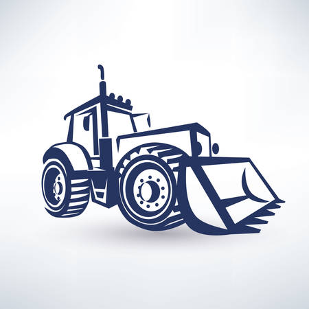 vector symbol: tractor stylized vector symbol, isolated silhouette Illustration
