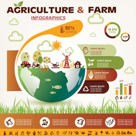 farm landscape: agriculture and farming infographics, vector icons collection