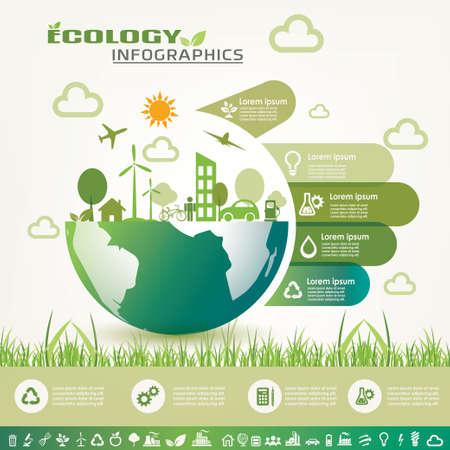 medio ambiente: infografía ecología, medio ambiente plantilla de la información y los iconos vectoriales de recogida