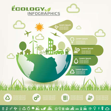 ecology infographics, environment information template and vector icons collection Illustration