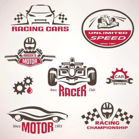 bandera carreras: coches de carreras, emblema de la competición y del conjunto de etiquetas, símbolos vector de recogida