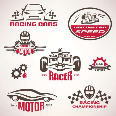 race cars, racing emblem and label set, vector symbols collection Çizim