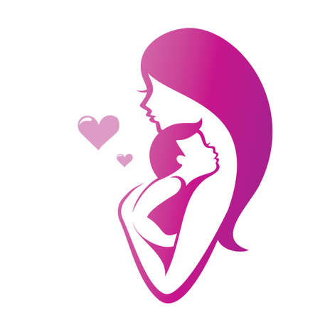 moms: mother and son vector symbol